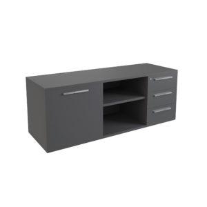 Mueble auxiliar de 1600 mm con 3 cajones y puerta, elaborado en tablero bilaminado de aglomerado.