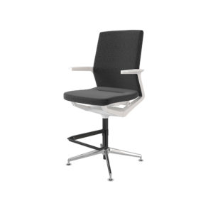Medium backrest stool, upholstered seat and backrest, 4-stop swivel base with black footrest.