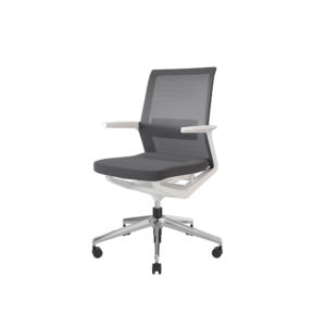 Medium mesh backrest armchair, upholstered seat, 5-wheel swivel base.