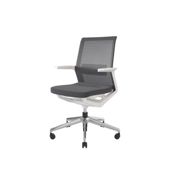 Medium mesh backrest armchair, upholstered seat, 5-wheel swivel base.