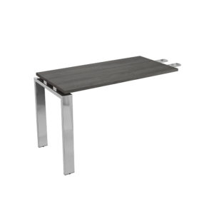 1200 mm executive table wing, made of bilaminate board of agglomerate and legs in chromed metal.