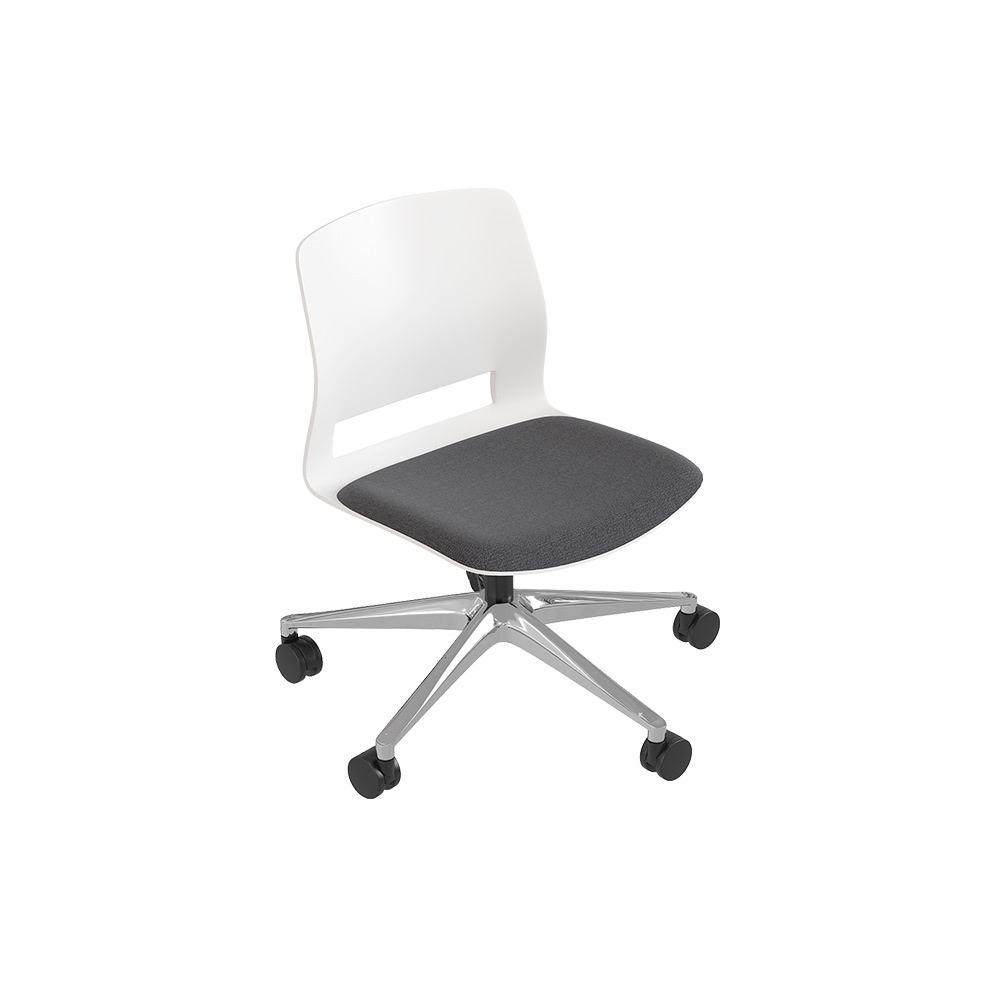 Medium back chair, 5-wheel swivel base, without arms.