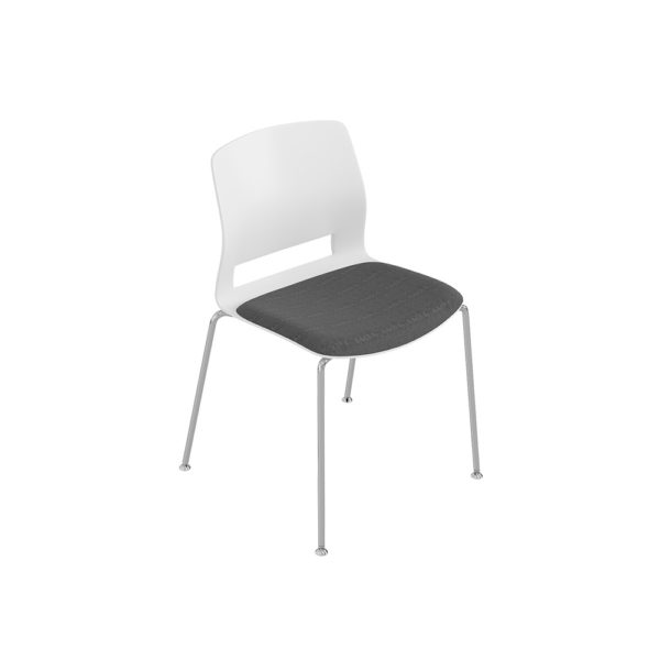Medium back chair, fixed base 4 feet, without arms.