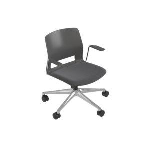 Medium back chair, 5-wheel swivel base, with arms.