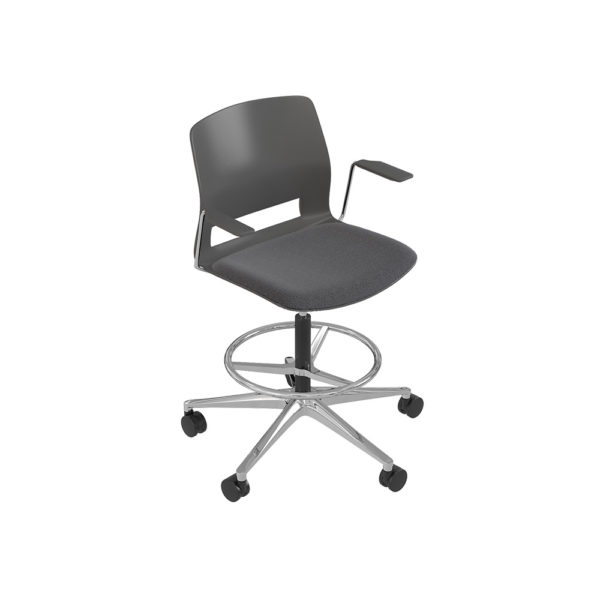 Stool swivel base 5 wheels, with arms.