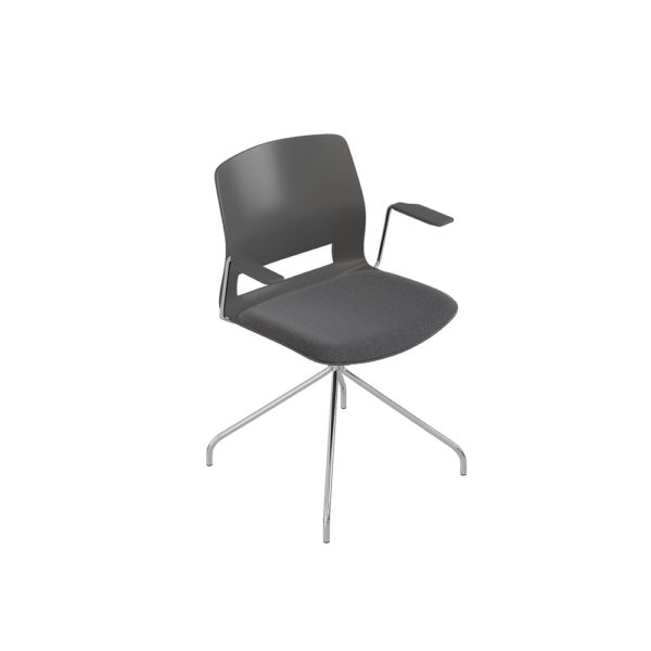 Medium back chair, fixed base 4 stops, with arms.