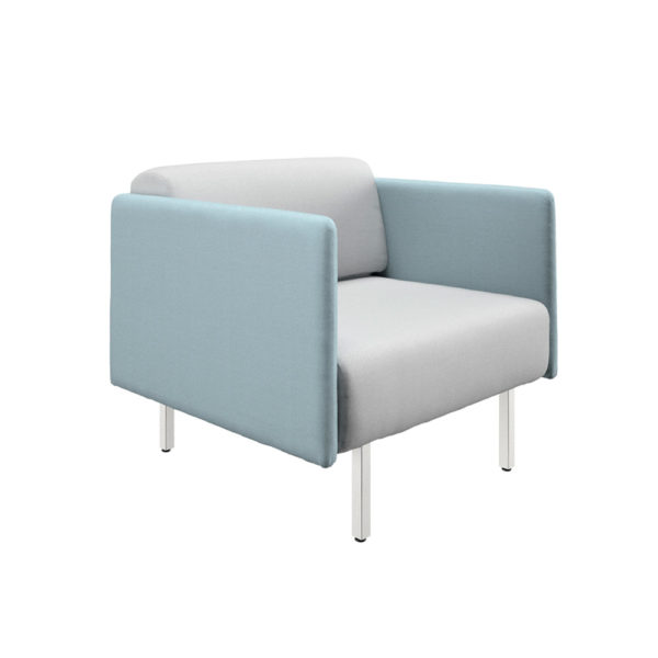 Low sofa of a square and width 87cm, Piem series.