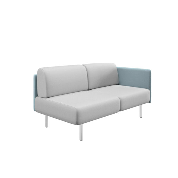 Sofá de dos plazas con lateral derecho y ancho 161cm, serie Piem.
