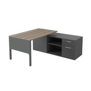Mesa ejecutiva con armario lateral (cajón + archivador) de 2000 mm, elaborada en tablero bilaminado de aglomerado.
