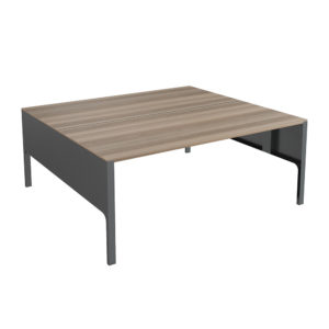 Bench type table of 1600x1630 mm, made of bilaminate board.