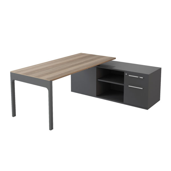 Executive table with side cabinet (drawer + cabinet) of 2000 mm, made of bilaminate board of agglomerate.