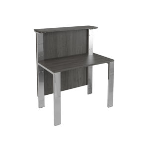 1000 mm counter, made of bilamined agglomerate board and legs in chromed metal.