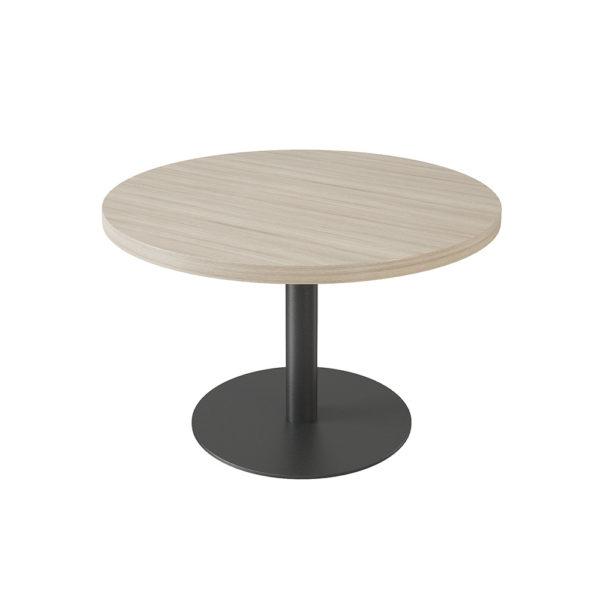 Mesa de reuniones redonda de 1200 mm, elaborada en tablero bilaminado de aglomerado.