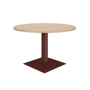 Round meeting table of 1200 mm, made of bilaminate board of agglomerate 25 mm thick.