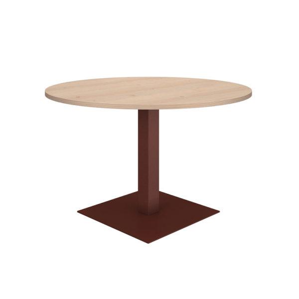 Mesa de reuniones redonda de 1200 mm, elaborada en tablero bilaminado de aglomerado de 25 mm de espesor.