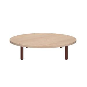 Mesa de centro redonda de 900 mm, elaborada en tablero bilaminado de aglomerado de 25 mm de espesor.