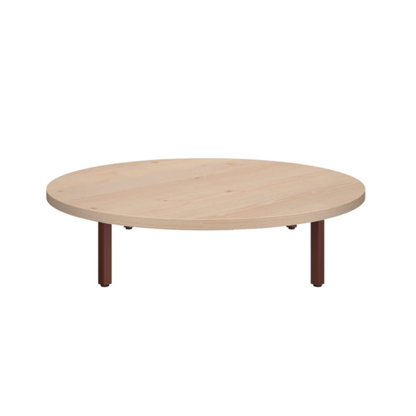 900 mm round coffee table, made of 25 mm thick bilaminate agglomerate board.
