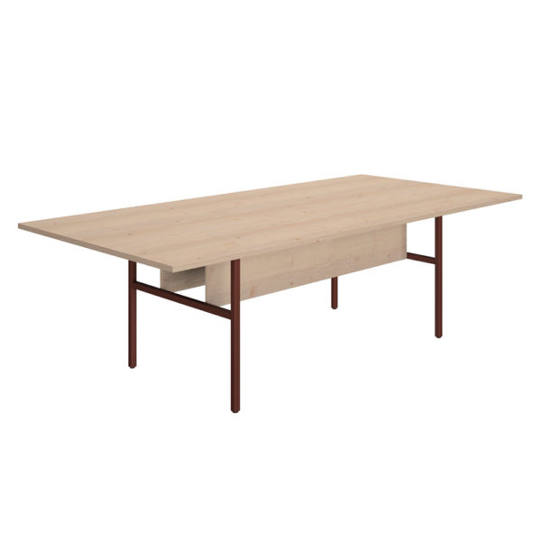 2400 mm meeting table, made of 25 mm thick agglomerate bilaminate board.