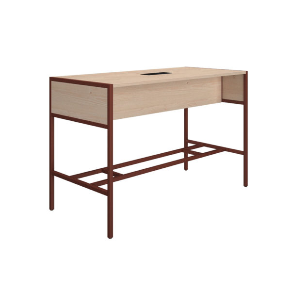 High meeting table of 1600 mm, made of bilaminate board of agglomerate 25 mm thick.