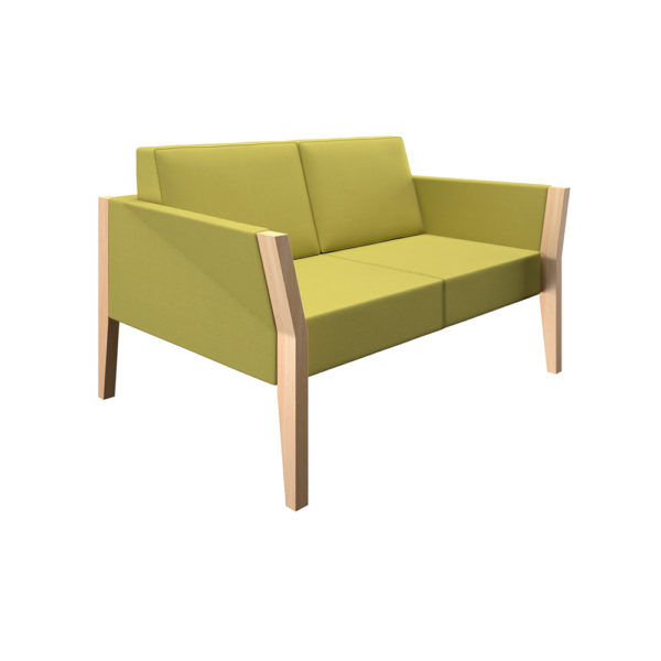 Two-seater sofa with natural wood structure.