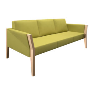 Three-seater sofa with natural wood structure.