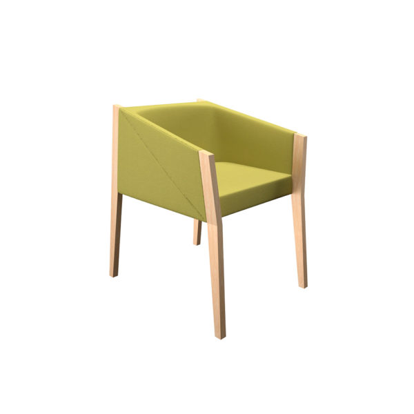 Armchair with structure in natural wood, low backrest.