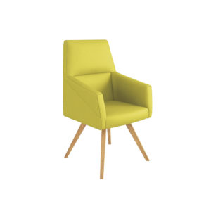 Armchair with base 4 legs in natural wood, low backrest.