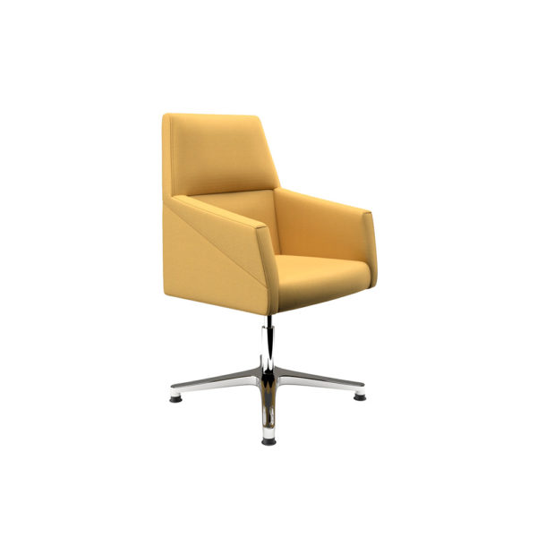 Armchair with chrome base, low backrest.